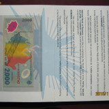 Bancnota 2000 lei 1999 eclipsa in catalog de prezentare