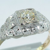 Inel aur, 14k, 46 - 56 - Superb inel stil antic aur 14K cu diamant natural 0, 32CT VS1 !!!