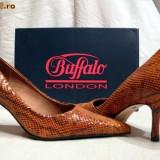 Pantofi dama Buffalo, Piele naturala - Pantofi caramel aspect sarpe (781-62 CARAMELLO) BUFFALO