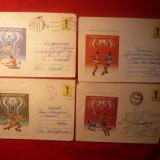 4 Plicuri Postale Ilustrate - Fotbal Argentina '78 - Plic Papetarie