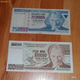 Lot 2 bancnote Turcia 250000 si 100000 lire RAR