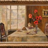 Tablou, Natura statica, Ulei, Altul - Pictura in ulei pe panza, Paul Barthel, 120 x 80 cm,