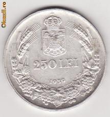 Moneda Argint, 250 LEI, 1939, XF+ foto
