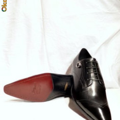 Pantofi barbati, FERREDIMANI, piele, negri, italieni (DENIS), Marime: 43, Culoare: Negru, Piele naturala