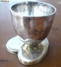 Pahar talpa inima, alama argintata.