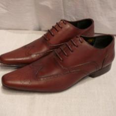Pantofi barbati, Piele naturala - Pantofi Maurice Chevallier, piele, maro, (A7-73)