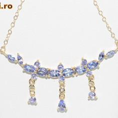 Superb colier aur galben 14K cu tanzanite si diamante naturale