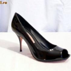 Pantofi de gala, de piele (lac)pentru femei, decupati (8415-370 ) BUFFALO - Pantof dama Buffalo, Marime: 38, 39, 40, Culoare: Negru, Piele naturala