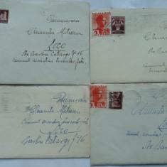 8 plicuri interbelice circulate, continand si scrisorile, pe hartie de lux, intre 2 viitori actori romani - Plic Papetarie