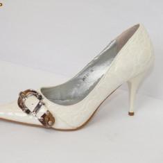 Pantofi albi cu catarama - (Belle Woman 257-31 white) REDUCERE EXCEPTIONALA DE PRET - Pantof dama, Marime: 36, 39, 40, 41
