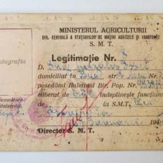 ROMANIA LEGITIMATIE SMT DIR CENTRALA STAT. MASINI AGRICOLE TRACTOARE 1950 ** - Pasaport/Document, Romania de la 1950