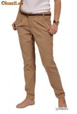 Pantaloni dama - Pantaloni bej raiati / talie inalta - marimea Xs - S.