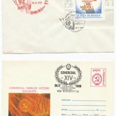 RFL 1979, 1989 ROMANIA doua plicuri de propaganda PCR, stampile speciale, unul cu colita - Plic Papetarie