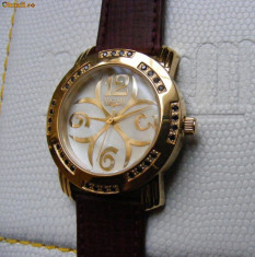 Ceas dama, Diametru carcasa: 38, Placat cu aur, Piele, Quartz, 30 m / 100 ft / 3 ATM - CEAS de LUX - NOCTUM Agnellus Gold, placat cu aur, 32 diamante negre !