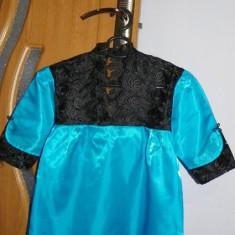 Bluza dama, Maneca scurta, De seara, Albastru, Dantela - Bluza cu dantela penru