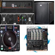 Combina audio - Set profesional DJ (4 x boxe, 2 x trepied, mixer, digital media turntable)