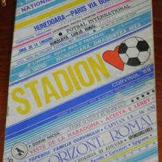 REVISTA STADION - SUPLIMENT AL PROGRAMULUI EDITAT DE CORVINUL HUNEDOARA - 1988 - Program meci