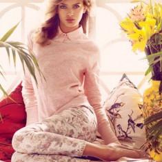Pantaloni dama, Lungi, Amestec - Pantaloni FLOWER PRINT STRADIVARIUS