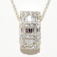 Lantisor R.KLEIN aur alb 14K cu pandantiv cu diamante naturale VS, 0.80CT - Colier aur alb, 14k