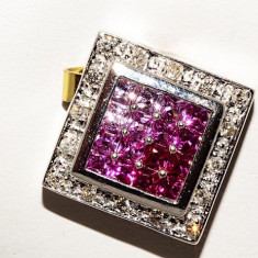 Pandantiv R.KLEIN aur alb 14K rubine, topaze si diamante naturale 5.4 grame - Pandantiv aur alb