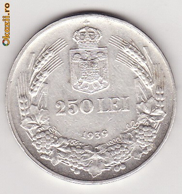 Moneda Argint, 250 LEI, 1939, XF+ foto mare
