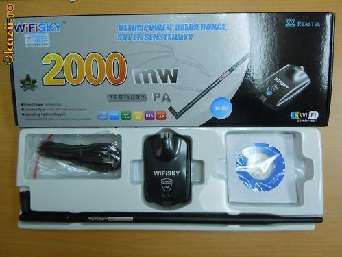 INTERNET GRATIS !!! - NOU PE PIATA -  ADAPTOR WIFI WIRELESS DE MARE PUTERE USB  2000 mw  - 10 dbi SIGILAT PT. LAPTOP PC  VAND / SCHIMB CU HTC DIAMOND foto mare