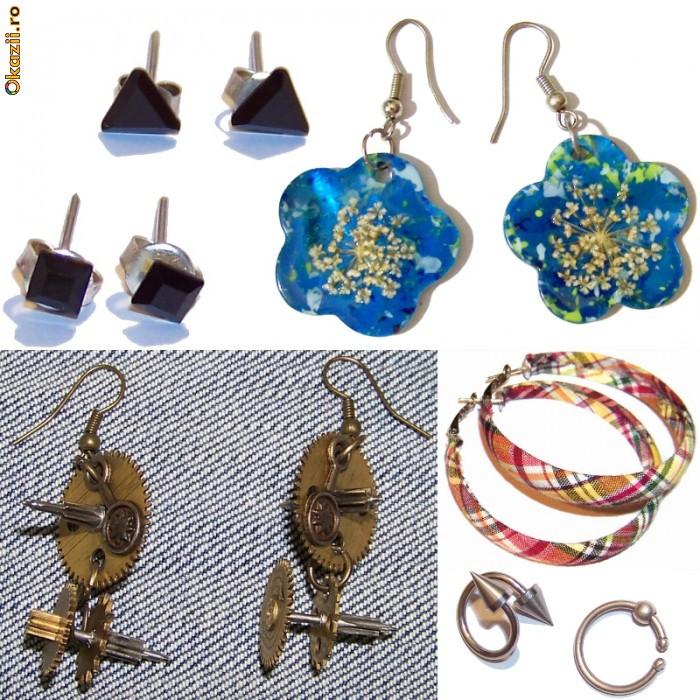 Cercei fashion art modele deosebite unicate cercei piercing, handmade, diverse modele, din argint bronz antic pietre semipretioase Preturi foarte mici foto mare
