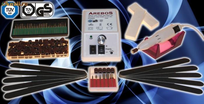 Pila / freza electrica unghii false, 500 - 20.000 rpm /turatie reglabila cu comanda manuala + bonus set complet accesorii, manichiura/pedichiura foto mare