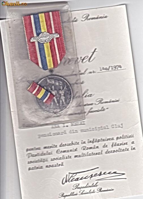 Medalia 30 de ani de la eliberarea Romaniei de sub dominatia fascista+husa+BREVET foto mare