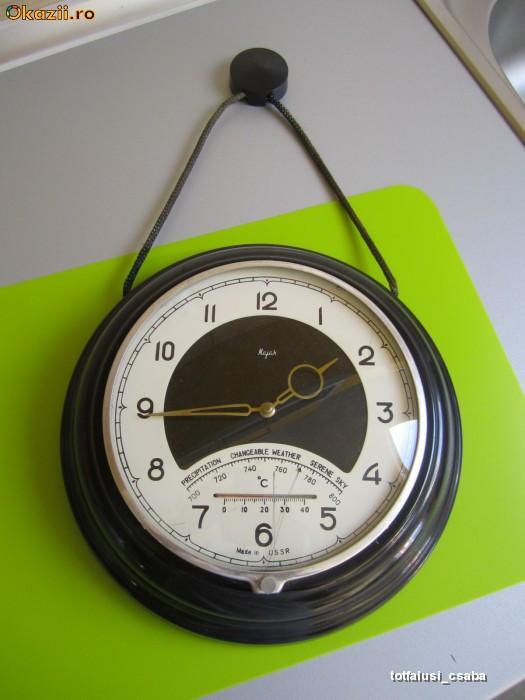 Vand ceas de perete Vechi Majak cu termometru si brometru foto mare