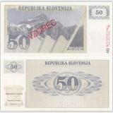 Bnk bn slovenia 50 tolari 1990 vzorec unc (specimen)