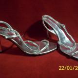 SANDALE ALBANO (SWAROVSKI 180 PCS) ITALY MAS.39 - Sandale dama, 37 1/3, Argintiu