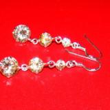 Cercei lungi din argint 925, foarte eleganti, cu pietre 3 cristale rotunde de culoarea sampaniei - Cercei argint