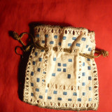 tesatura textila - Posetuta de Bal - lucrata manual -cca.1900 - 12 x 12, 5 cm