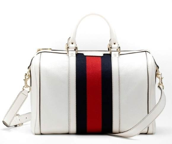 Replica Gucci Vintage Web Medium Boston Bag 247205 in White.