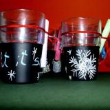Pahare si cani handmade - vopsea pe care se poate desena/scrie cu creta