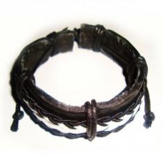 Bratara piele, Unisex - Bratara din piele neagra decor snur negru impletit