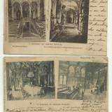 Carte Postala - 2 ilustrate Sinaia : interiorul Castelului Peles - U.P.U., circulate 1899 si 1903, timbre