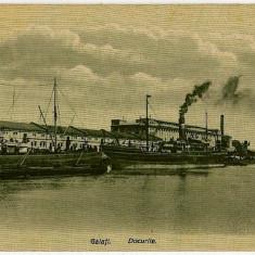 2652 - GALATI, Docurile si nave - old postcard - unused - Carte Postala Romania 1904-1918, Necirculata