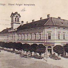 Romania, Sf.Gheorghe, carte postala circulata 1914: Scoala de Fete, animat, Sfantu Gheorghe, Fotografie