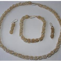 Set bijuterii colier bratara cercei partial din argint - Set bijuterii argint