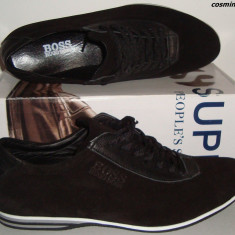 Pantofi / Adidasi Casual HUGO BOSS 100% Piele Intoarsa - Bleumarin / Negru !!! - Pantofi barbati Hugo Boss, Marime: 41, 43, 44, 45, Piele naturala