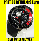 * CEAS SWISS MILITARY * CHECKERBOARD CALIBRE-2 MODELE (ROSU si GALBEN)  -SUBACVATIC, BARBATESC,OTEL INOX, SWISS MADE,ORIGINAL NOU,PRET DE RETAIL 419 foto