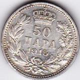 Serbia -Yugoslavia 50 PARA 1915 argint, varianta FOARTE RARA, KM # 24.5 din catalog, XF/a.UNC (1)