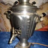 Samovar rusesc vechi din alama cromata, inaltime 37 cm, lungime 25 cm, latime 28 cm, in stare buna. - Metal/Fonta