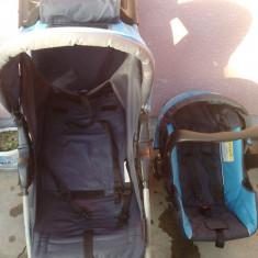 CARUCIOR PRIMI PASI+SCAUN AUTO SI ACCESORII - Carucior copii 2 in 1 Primii Pasi, Altele, Pliabil, Albastru
