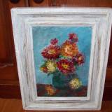 Vas cu flori, tablou in ulei pe placaj semnat cu rosu O Hutul - Pictor roman, Impresionism