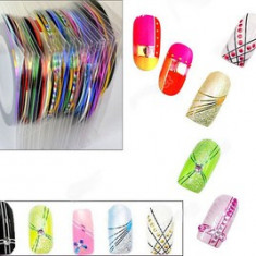 Banda decor unghii pentru kit gel uv kit unghii false kit acril set manichiura decoratiuni unghii nail art set 10 benzi decor unghii + CADOU Buffer - Unghii modele