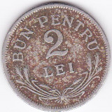 Ferdinand I. 2 lei 1924 fara sigla, monetaria Bruxelles - Moneda Romania