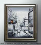 Tablou Paris in alb/negru (1) - tablou ulei pe panza cu rama (60x50cm) - LIVRARE GRATUITA 24-48h foto